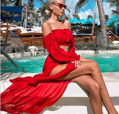 Женский пляжный сарафан-туника Olivia sun red