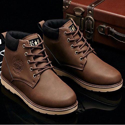 Мужские кожаные зимние ботинки модель 0482