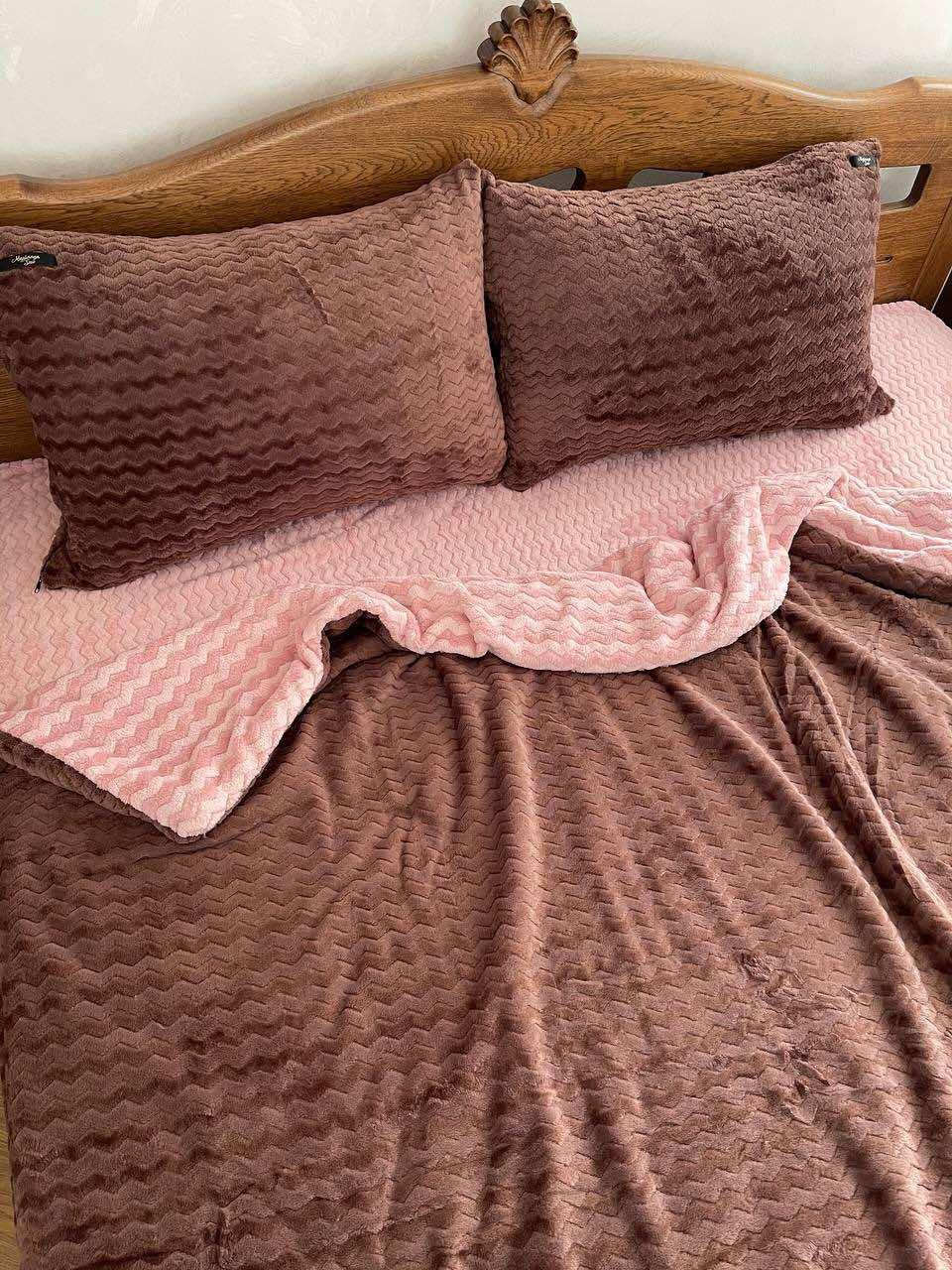 Велюровый Комплект постельного белья  Волна двухсторонний Розово - Шоколадный