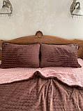Велюровий Комплект постільної білизни Хвиля двосторонній Рожево - Шоколадний, фото 2