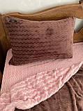 Велюровый Комплект постельного белья  Волна двухсторонний Розово - Шоколадный, фото 3