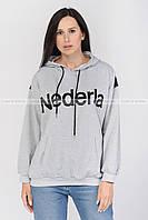 Свитшот женский с капюшоном , ХУДИ , толстовка с принтом , спортивный стиль , Серый