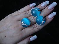 Гарнитуры из серебра с золотом кольцо+серьги(370 видов)