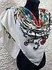 Женский легкий хлопковый платок белый с цветами