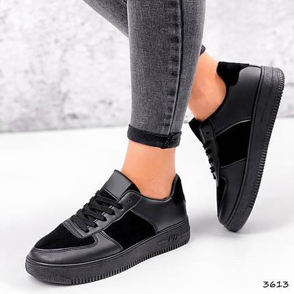 Кросівки жіночі шкіра з замшею чорні туфлі осінь весна, фото 2