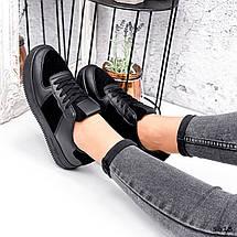 Кросівки жіночі шкіра з замшею чорні туфлі осінь весна, фото 3