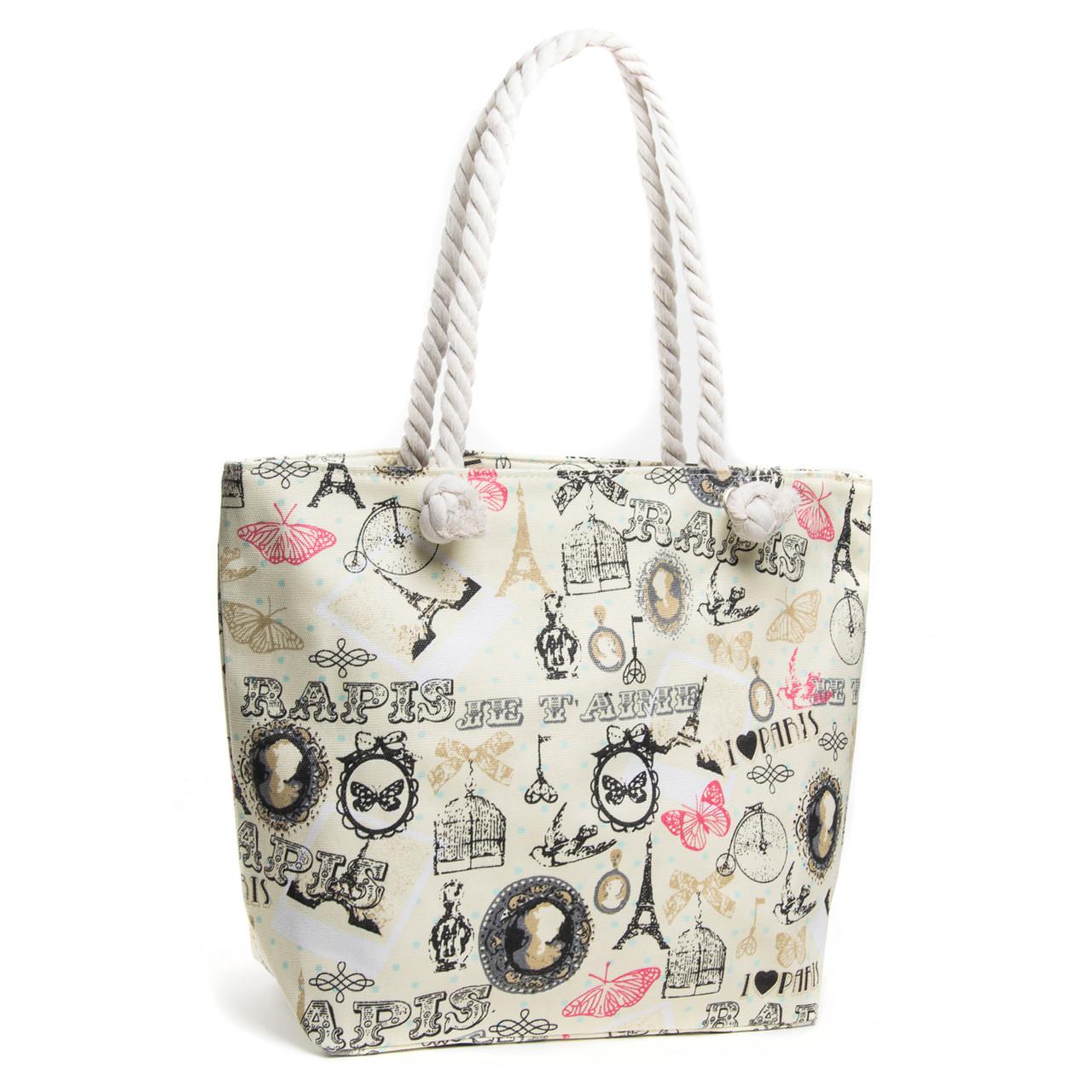 Пляжная сумка женская ручки канаты модная летняя с принтом Париж бежевая 5015-7