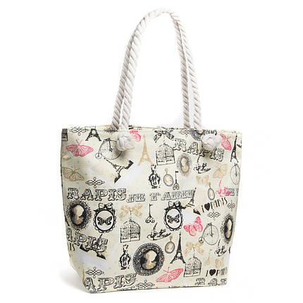 Пляжная сумка женская ручки канаты модная летняя с принтом Париж бежевая 5015-7, фото 2