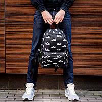 Стильный городской спортивный рюкзак с принтом кроссовок Nike / Найк Черный