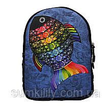 Джинсовый Рюкзак с рыбой