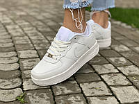Женские Кроссовки белые низкие натуральная кожа Nike Air Force Найк Аир Форс кроссовки кеды повседневные