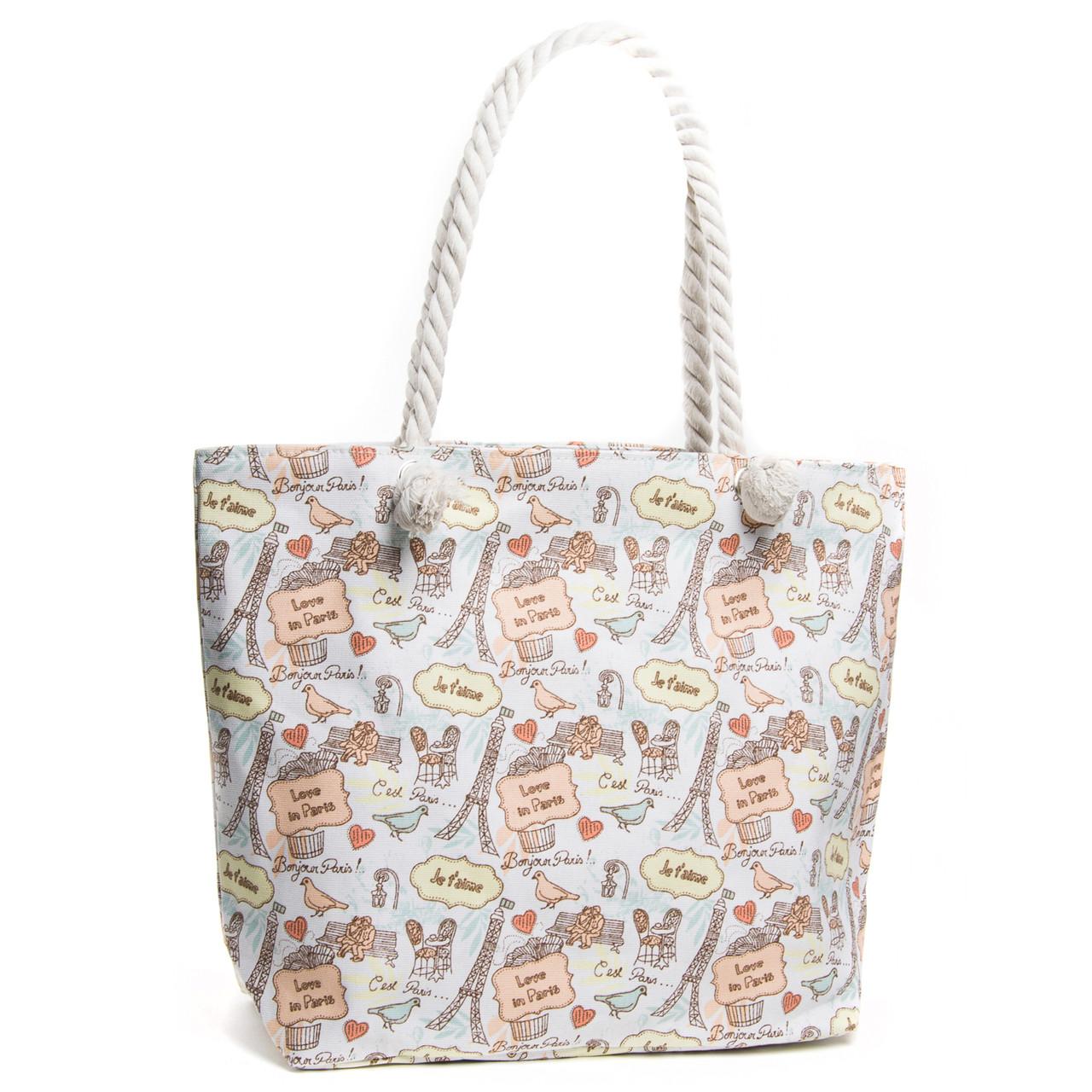 Пляжная сумка женская летняя тканевая ручки канаты с рисунком Париж Белая 5018-3