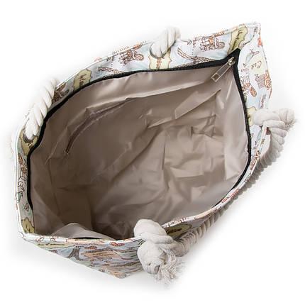 Пляжная сумка женская летняя тканевая ручки канаты с рисунком Париж Белая 5018-3, фото 2