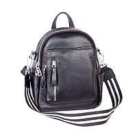 Жіночий шкіряний рюкзак міський 07 чорний флотар 02070101 Чорний