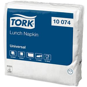 Салфетки бумажная 1 слойная 30х30 см (15х15 см) 100 шт белые 10074 TORK