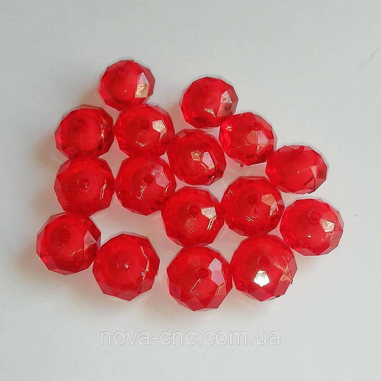 """Намистини акрил """"Рондель"""" червоний прозорий з білою серединкою 18 мм 500 грам"""