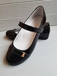 Туфли кожаные D Style Shiny Black 33-35