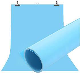 Фотофон вініловий (фон для фото предметної зйомки, блакитний 120×200 см, ПВХ)