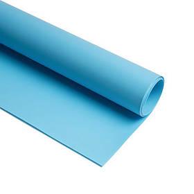 Фотофон виниловый двусторонний (фон для фото предметной съемки, голубой 0.68×130 см, ПВХ)