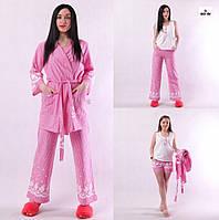 Пижама женская 4 в 1 шорты, штаны, топ и халат розовый р42-52