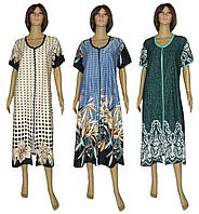 NEW! Літні жіночі трикотажні халати великих розмірів - серія 18013 Flat Color Batal котон ТМ УКРТРИКОТАЖ!