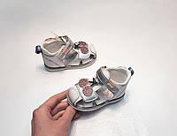Детские босоножки 20 21 23 для девочки Том.м белые серебристые вишенки сандалии закрытые