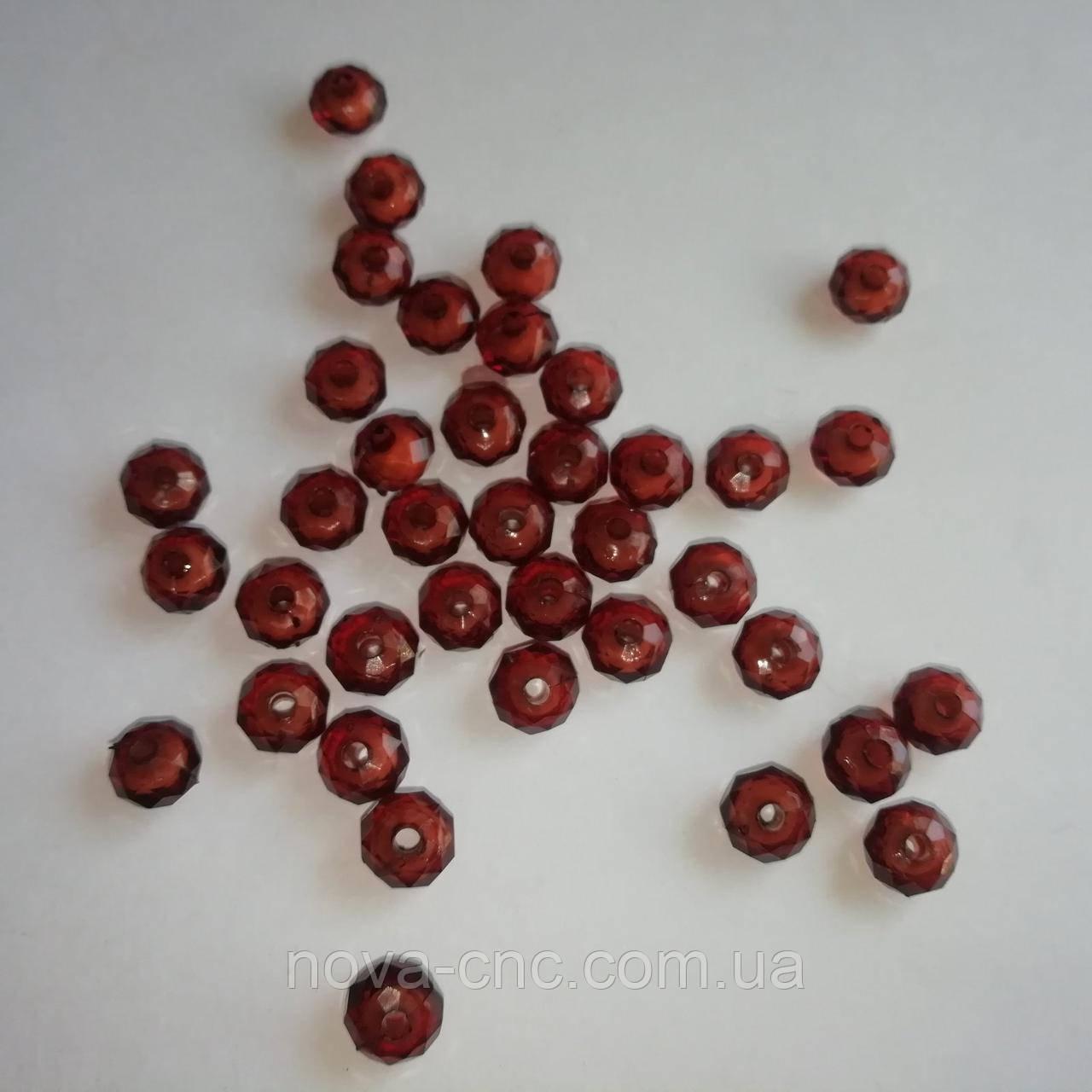 """Намистини акрил """"Рондель"""" коричневий з білою серединкою 8 х 5 мм 500 грам"""