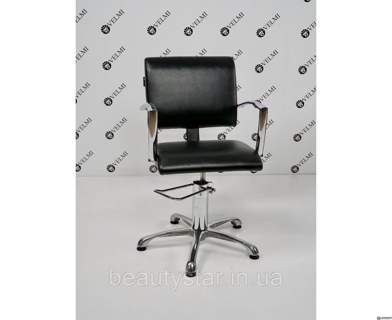 Парикмахерское кресло STELLA кресло для клиентов парикмахера с хромированными подлокотниками Velmi