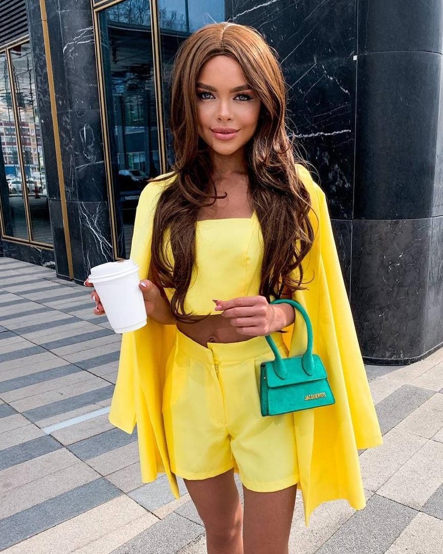 Жіночий костюм - трійка, костюмка класу люкс, р-р 42-44; 44-46 (жовтий)