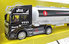Машинка трейлер игрушечный грузовик фура металл цистерна 1:68 32 см черная