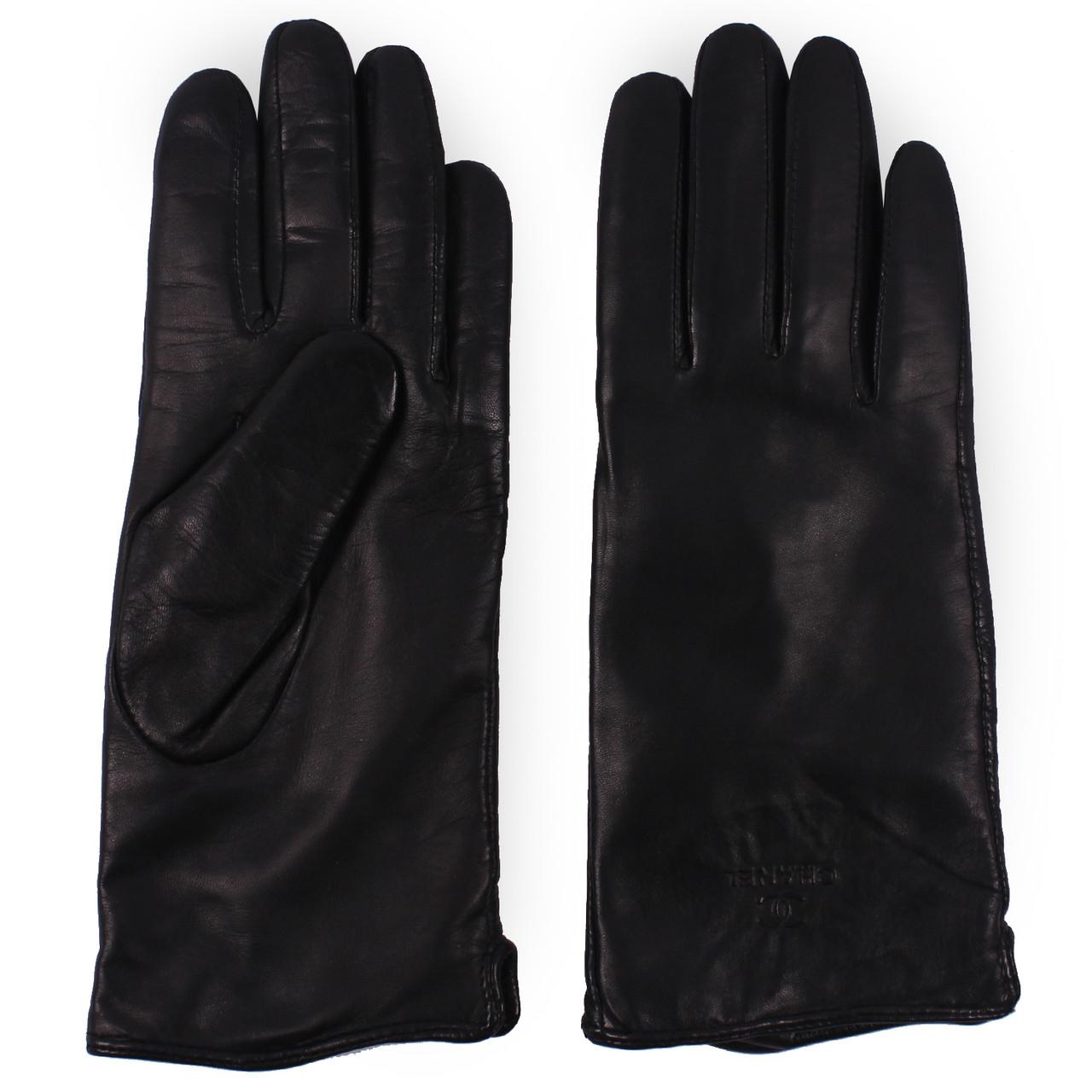Женские перчатки ( кожаные, зимние, черные, на флисе)
