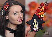 """""""Чёрная орхидея с ягодами"""" заколка для волос ручной работы"""