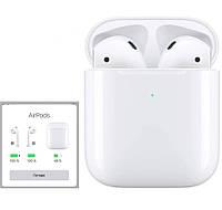Беспроводные наушники Эпл AirPods 2 Вставные сенсорные Bluetooth для Iphone (Люкс копия 1в1) с кейсом Белые
