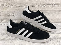 Мужские кроссовки Адидас Газель черные с белым. Чоловічі кросівки Adidas Gazelle black white. Размер 41-45