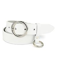 Ремень женский кожаный с кольцом белый PS-3013 white (125 см)