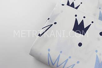 """Клаптик. Тканина бавовняна """"Корони"""" блакитні і сині на білому , 36*160 см"""