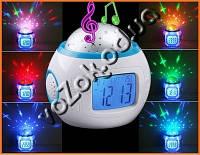 Часы - проектор звездного ночного неба 1038 светильник Music And Starry Sky Calendar, фото 1