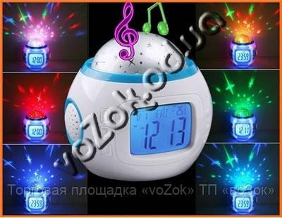 Часы - проектор звездного ночного неба 1038 светильник Music And Starry Sky Calendar - Торговая площадка «voZok» ТП «воЗок» в Одессе