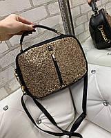 Черная женская сумка через плечо блестящая небольшая сумочка молодежная кожзам
