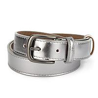 Ремень женский кожаный с квадратной пряжкой серебряный PS-3083 silver (130 см)