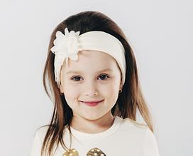 Дитяча пов'язка на голову для дівчинки бавовняна з квіткою Україна 53 см 2-4 роки Кремовий
