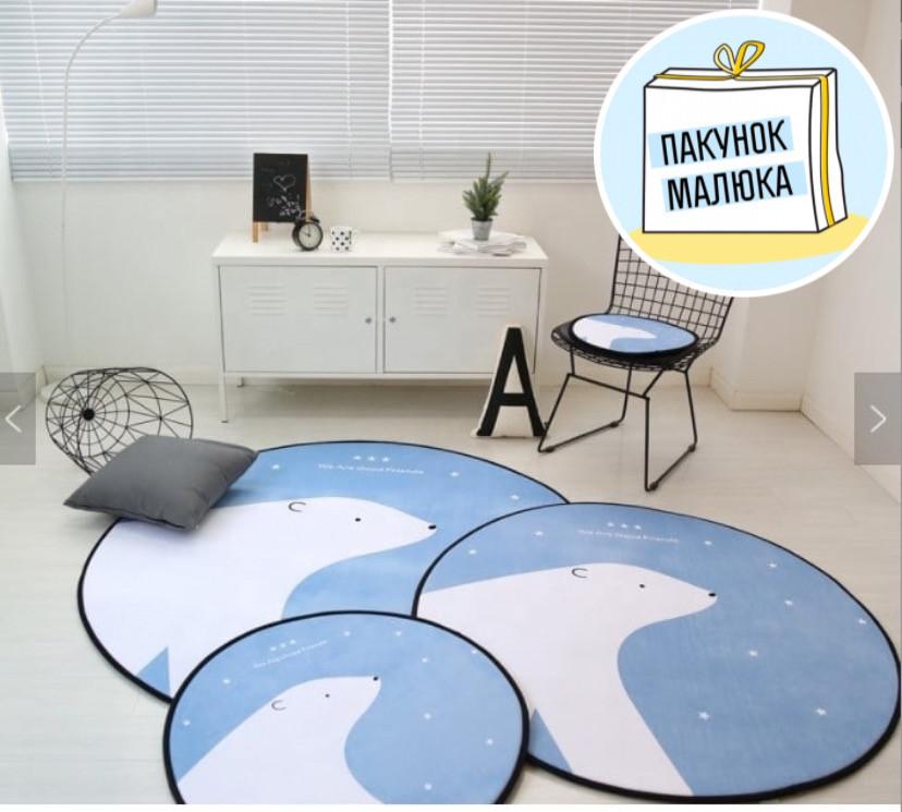 """Плюшевий килимок """"Мішутка"""" утеплений (150 см діаметр)"""