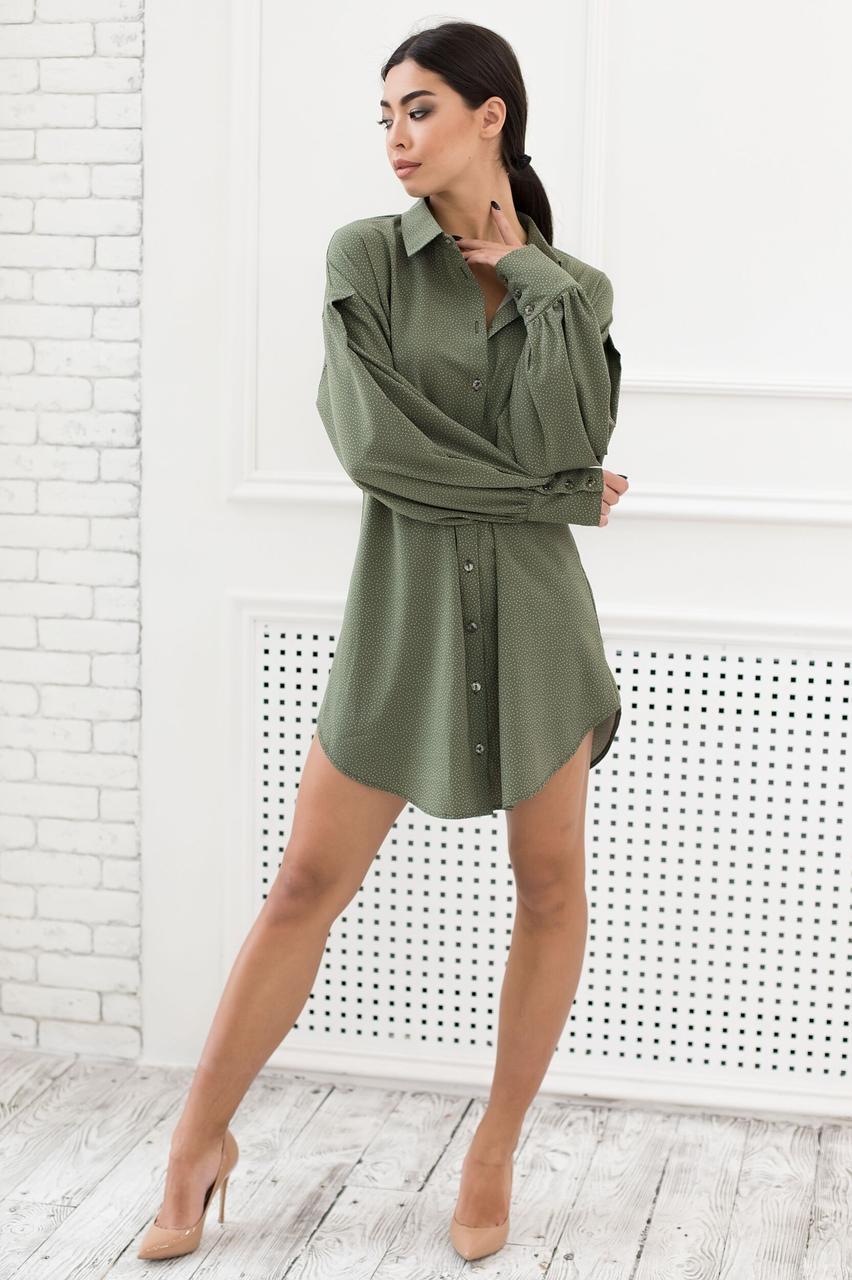 Платье женское, цвет: хаки, размер: 46-48, 42-44