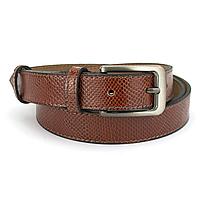 Ремень женский кожаный коричневый питон PS-2530 brown (125 см)