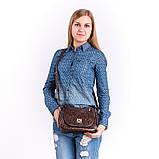 Коричнева жіноча маленька сумочка через плече крос-боді, фото 6
