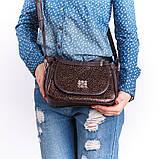Коричнева жіноча маленька сумочка через плече крос-боді, фото 3