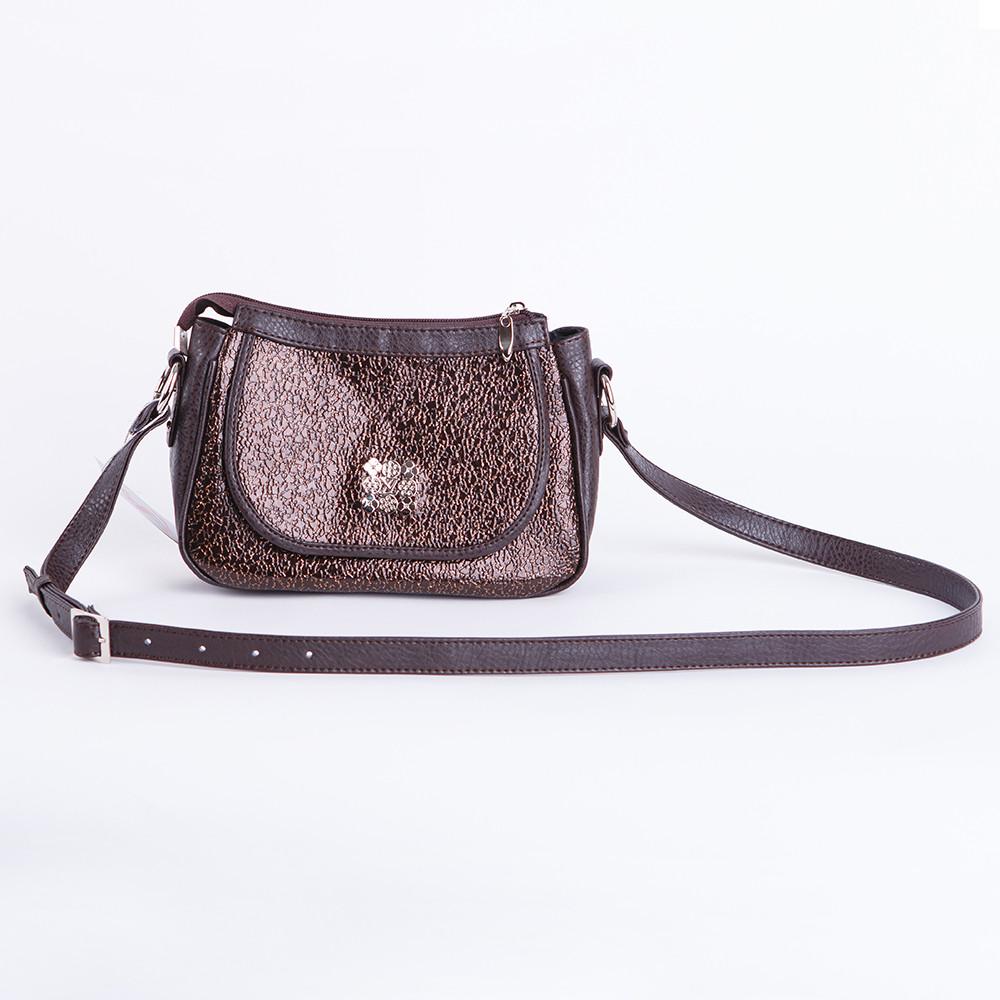 Коричнева жіноча маленька сумочка через плече крос-боді