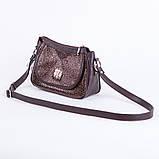 Коричнева жіноча маленька сумочка через плече крос-боді, фото 2