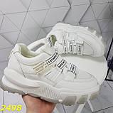 Кросівки білі на масивної тракторній підошві на гумках і липучках 37, 38, 39, 40 р. (2498), фото 3