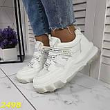 Кросівки білі на масивної тракторній підошві на гумках і липучках 37, 38, 39, 40 р. (2498), фото 8